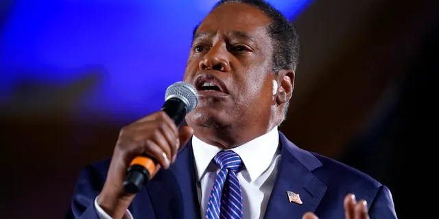 Republican conservative radio show host Larry Elder speaks to supporters after losing the California gubernatorial recall election Tuesday, Sept. 14, 2021, in Costa Mesa, Calif. The rare, late-summer election, which challenged California Governor Gavin Newsom, has emerged as a national battlefront on issues from COVID-19 restrictions to climate change. (AP Photo/Ashley Landis)
