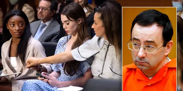 Olympic gymnast Simone Biles (L), Olympic gymnast McKayla Maroney (C), Olympic gymnast Aly Raisman (R) spoke during Senate Judiciary Committee hearing in Washington, D.C. about the FBI's mishandling of the sexual abuse case made against their former team doctor Larry Nassar (boxed image).