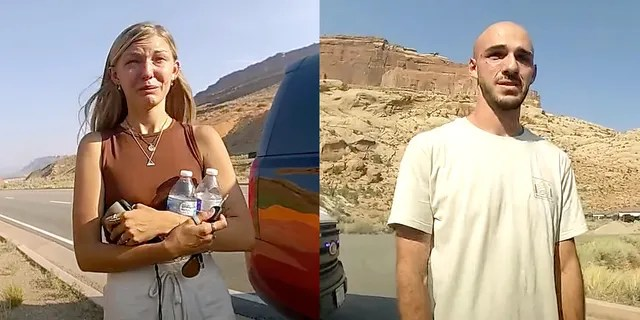 Gabby Petito, left, and Brian Laundrie in bodycam footage released by the Moab City Police Department in Utah.
