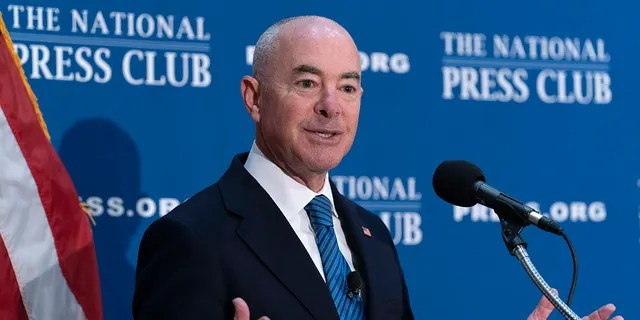 Secretary of Homeland Security Alejandro Mayorkas speaks during a news conference at The National Press Club in Washington, on Thursday, Sept. 9, 2021. (AP Photo/Jose Luis Magana)