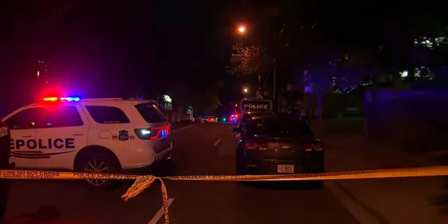 The crime scene near where a special police officer was fatally shot in Washington, D.C. Tuesday. (WTTG)