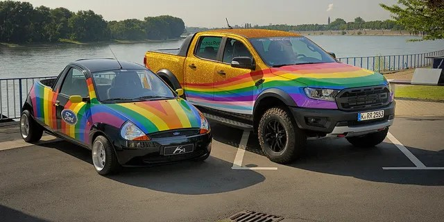 In 1998 Ford turned a Ka subcompact into a rainbow-colored pickup to make a statement about anti-discrimination.