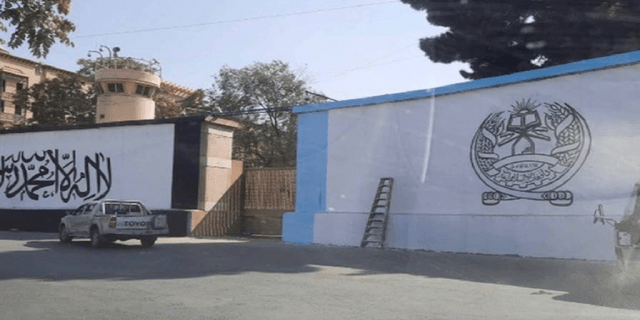 This image obtained by Fox News shows the Taliban's white flag painted next to the former U.S. embassy in Kabul, Afghanistan.
