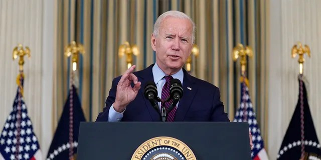 President Joe Biden delivers remarks on the debt ceiling during an event in the State Dining Room of the White House, Monday, Oct. 4, 2021, in Washington.