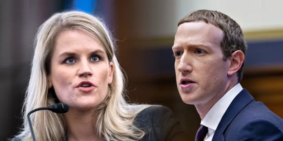 This photo illustration shows Frances Haugen, a former Facebook employee, testifying Tuesday at a Senate subcommittee hearing, and Mark Zuckerberg, chief executive officer and founder of Facebook Inc., speaking on Capitol Hill on Oct. 23, 2019.<strong></strong>