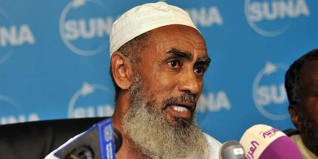 Sudanese Ibrahim al-Qosi, the former cook of slain Al-Qaeda founder Usama bin Laden, speaks during a press conference in Khartoum on July 11, 2012 after he was release from the US detention centre at Guantanamo Bay, Cuba and returned to his native Sudan when Court documents in August 2010 showed that his 14-year sentence would be suspended. Qosi had been held at the US-run Guantanamo prison since 2002 and was the first Guantanamo detainee to be tried by military tribunal under revised rules introduced by the administration of President Barack Obama. AFP PHOTO/EBRAHIM HAMID    (Photo credit should read EBRAHIM HAMID/AFP/GettyImages)