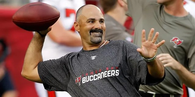 TAMPA, FL - AUGUST 28: Special teams coordinator Rich Bisaccia of the Tampa Bay Buccaneers works with the special teams just prior to the start of the game against the Jacksonville Jaguars at Raymond James Stadium on August 28, 2010 in Tampa, Florida. Jaguars won 19-13.