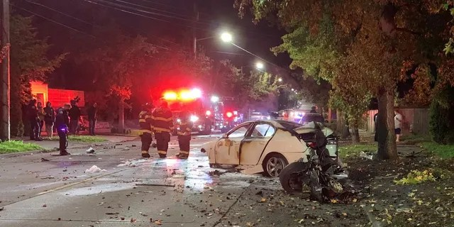 Pieces of the car flew off on impact with a tree and damages nearby homes and an unoccupied vehicle on Martin Luther King Jr. Way in Seattle on Monday night.