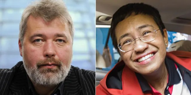 Nobel Peace Prize winners Dmitry Muratov of Russia . left, and Maria Ressa of the Philippines.