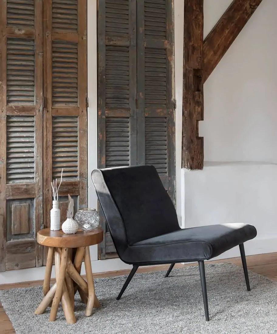Retro velvet fauteuil Orvault direct uit voorraad