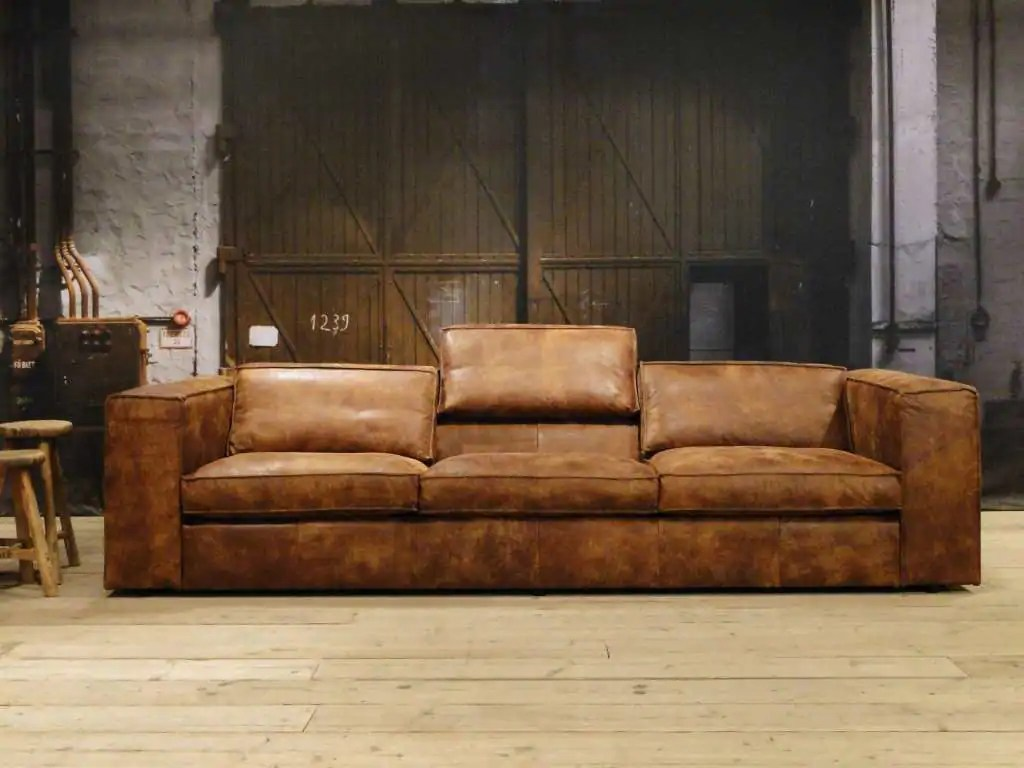 Kleine Leren Bank.Bruine Lederen Sofa