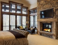 20 Beautiful Bedrooms With Stone Fireplace Designs