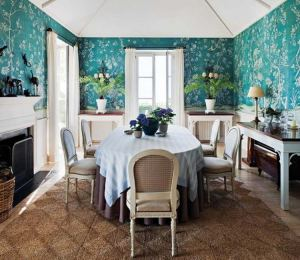 dining paintable walls formal turquoise painted decor decorating spanish hand fireplace traditional via