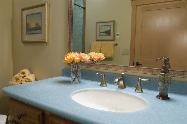 20 Bathrooms With Glass Countertop Designs