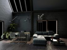 15 Living Room Designs With Black Brick Walls - Housely