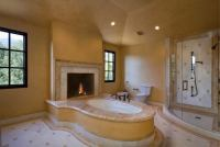 20 Beautiful Master Bathroom Designs With Fireplaces - Housely