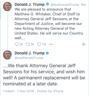 Attorney General Session submits resignation at Trump's
