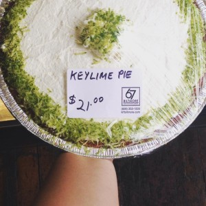 DELICIOUS key lime pie with homemade whipped cream.  Pick one up to go!