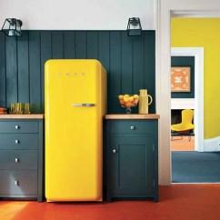 Yellow Kitchen Accessories Rack Retro Smeg Refrigerators