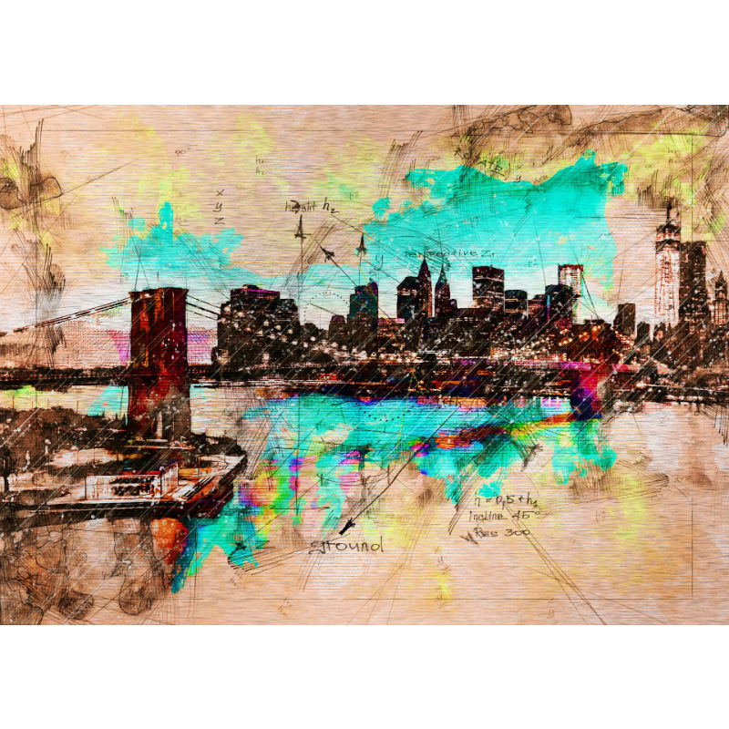 Urban living painting on metal Vintage New York