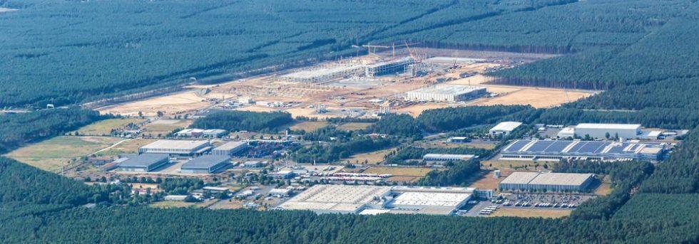 Tesla Gigafactory Berlin Brandenburg Giga Factory construction site aerial view photo