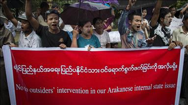 Protests greet ex-UN chief on arrival in west Myanmar