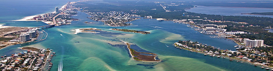 Orange Beach AL aerial photo Perdido Pass, home port for the Alabama fishing charter fleet