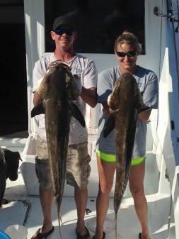 two big cobia caught along the AL Gulf Coast March 20 2015 Captain Gary Goodwin Mandy Prell