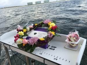 Engraved biodegradable urn wreath & rose petals for a native american burial at sea perdido key fl