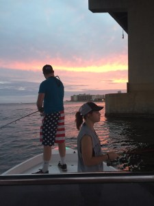 al gulf coast inshore fishing charters jan 17 Fishing under Perdido Pass Bridge at sunset