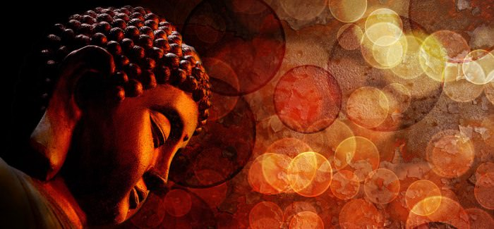 Bronze Red Zen Buddha Statue