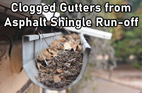 Clogged Gutters from Asphalt Shingle Debris Run-Off