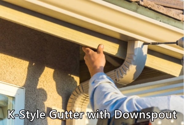 K-Style Gutter Installer with Downspout