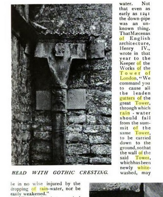 """Page from book titled """"Country Living"""" showing Gutter Downspout on The Tower of London"""