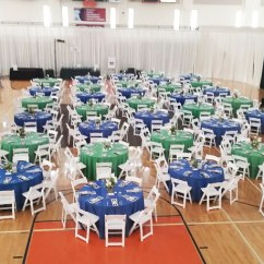 Chair Cover Express Hawaii White Slip Covers For Dining Room Chairs Event Party Rentals In Omaha Ne Aaa Rents Services Blue And Green Linens With Striped Napkins On Round Tables Resin