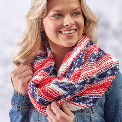 independence day knit pattern for cowl