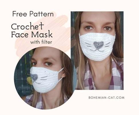 bohemian cat crochet face mask