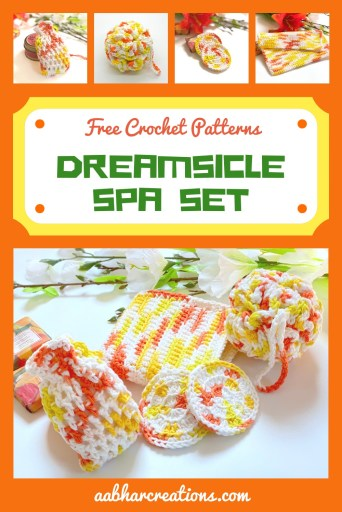 dreamsicle crochet spa set pin aabharcreations