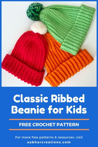 classic ribbed beanie free crochet pattern pin