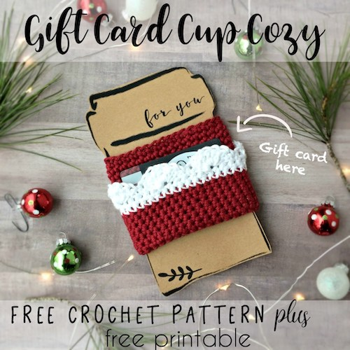 Gift Card CUp Cozy crochet last-minute gift