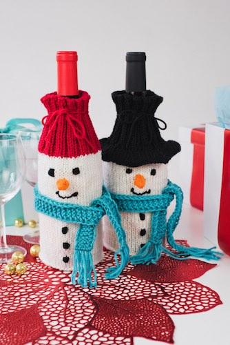 Wine-derful Time Snowman Bottle Cozies