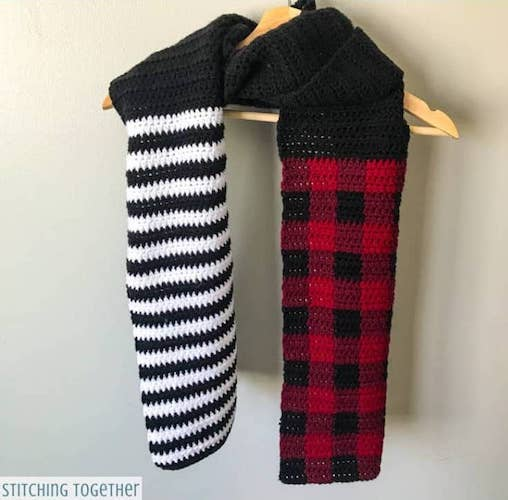 Stripes and Plaid Crochet Scarf Pattern