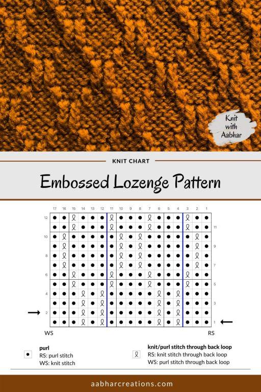 Embossed Lozenge Stitch Chart