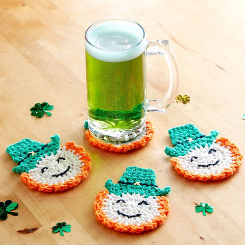 patrick's day crochet patterns Lily Sugar'n Cream Luck of the Irish Crochet Coasters