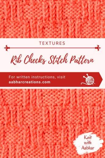 Rib Checks Stitch Pattern Pin aabharcreations