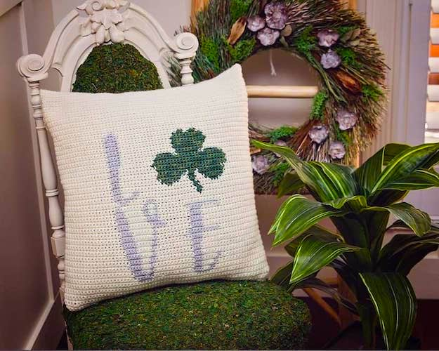 St. Patrick's Crochet Shamrock Pillow Cover