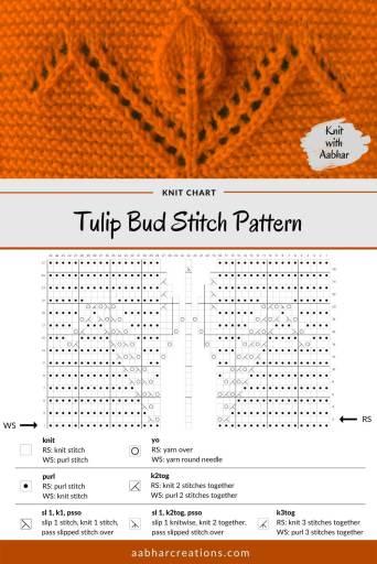 Tulip Bud Knit Pattern Stitch Chart aabharcreations