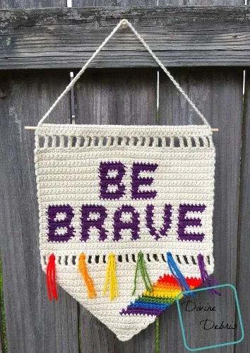 Be Brave Wall Hanging - Free Crochet Pattern