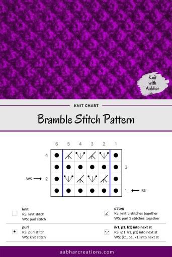 Bramble Stitch Pattern Knitting Stitch Chart aabharcreations