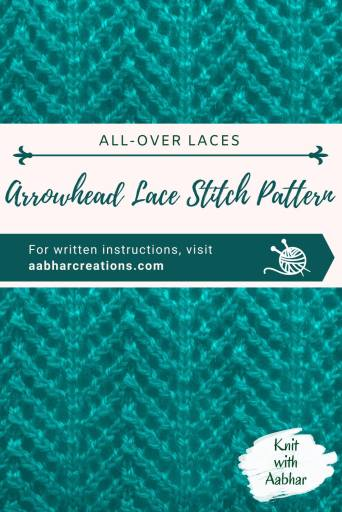 Arrowhead Lace Stitch Pattern pin aabharcreations